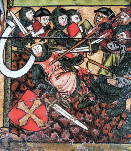 Olav was killed in the Battle of Stiklestad 1030. He was canonized 1031.